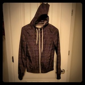 Light weight gray hooded jacket